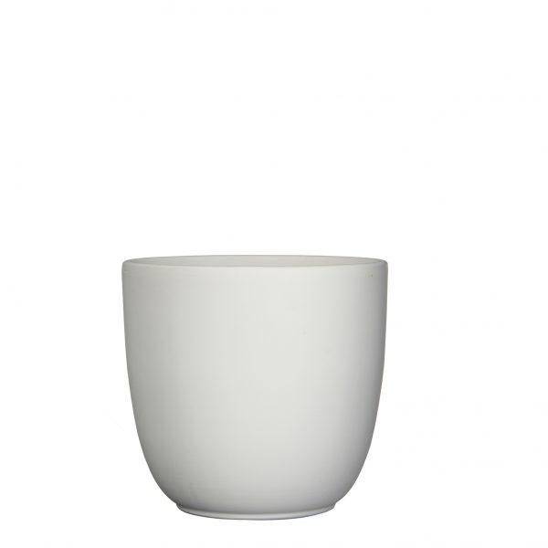 Tusca pot rond wit mat - h23xd25cm