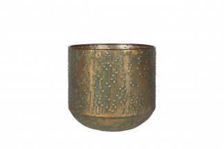 Pot lian - h27xd28cm kopergroen